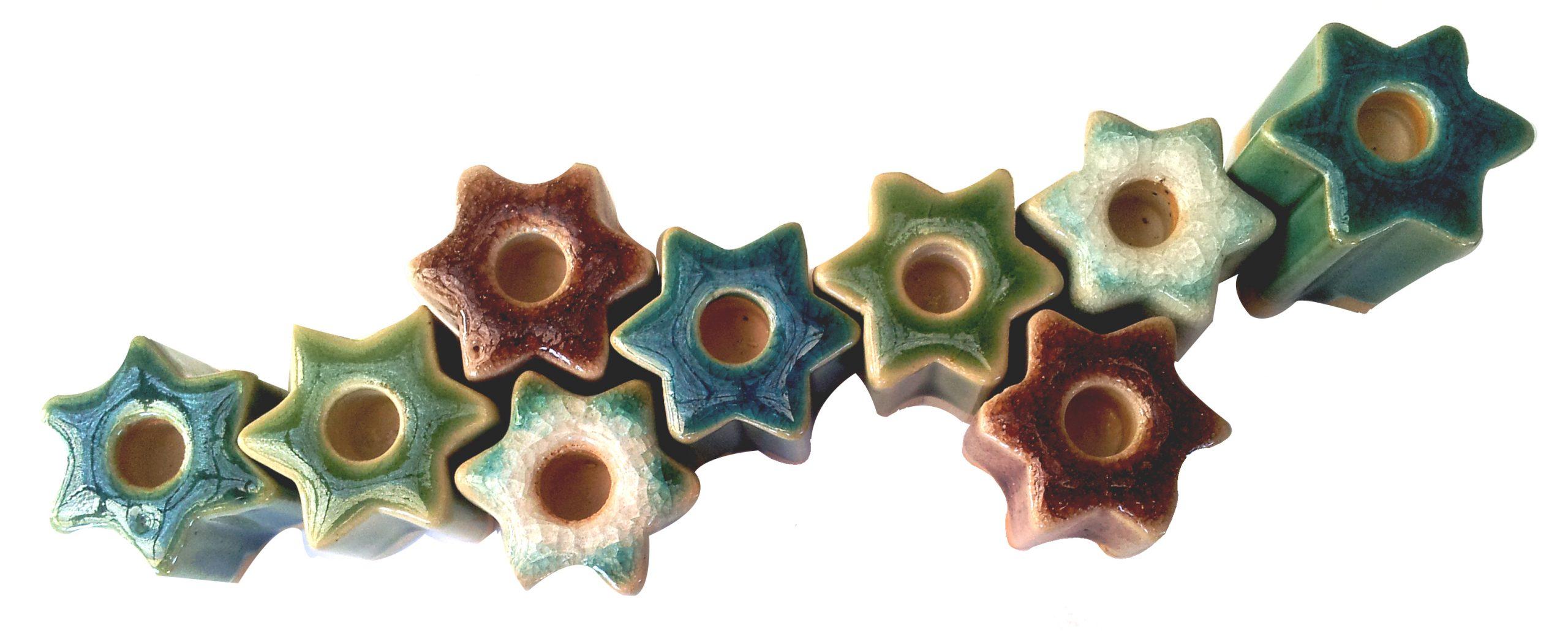חנוכיה קרמיקה - כוכבים